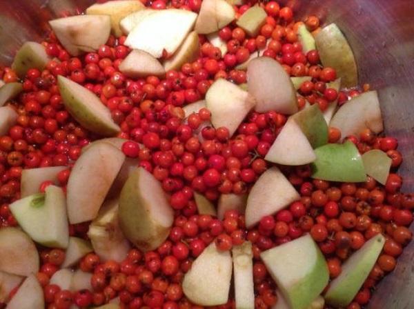 Брусника с яблоками