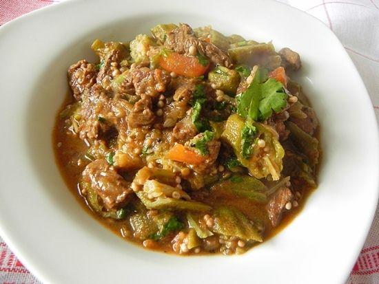 Бамия с мясом и рисом