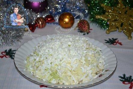 """Салат """"Лебединый пух"""" с пекинской капустой - рецепт с курицей, сыром, свежим огурцом, тунцом"""